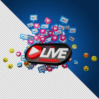 Live stream sign and emotion icons in 3d rendering