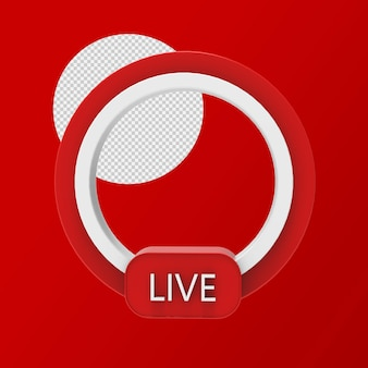 Live streaming 3d badge isolated rendering