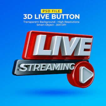 Live streaming 3d badge isolated