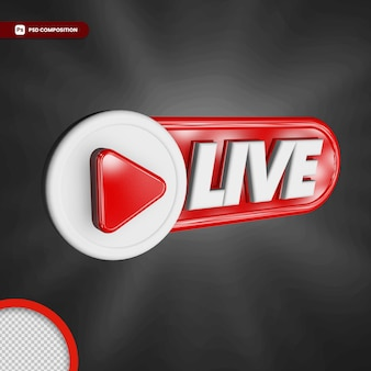 Live streaming 3d render icon badge isolated
