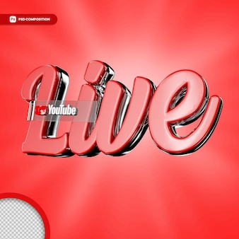 Live streaming 3d render icon badge