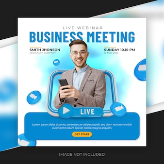 Live streaming business meeting and corporate social media post template