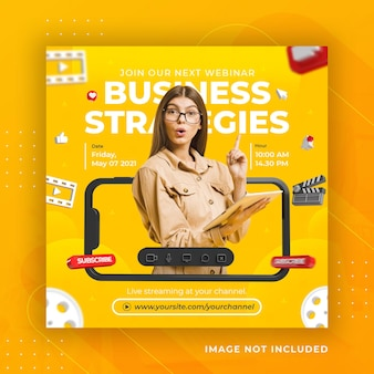 Live streaming business workshop social media post instagram template