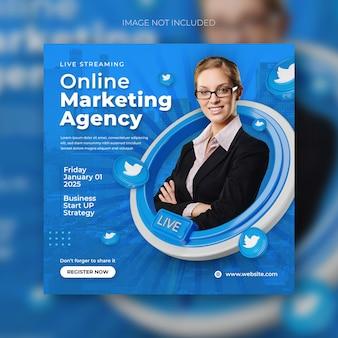 Прямой эфир, цифровой маркетинг и шаблон сообщения в корпоративных социальных сетях