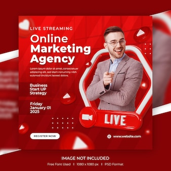 Live streaming digital marketing and corporate social media post with 3d template