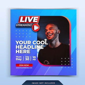 Live streaming instagram post social media post template