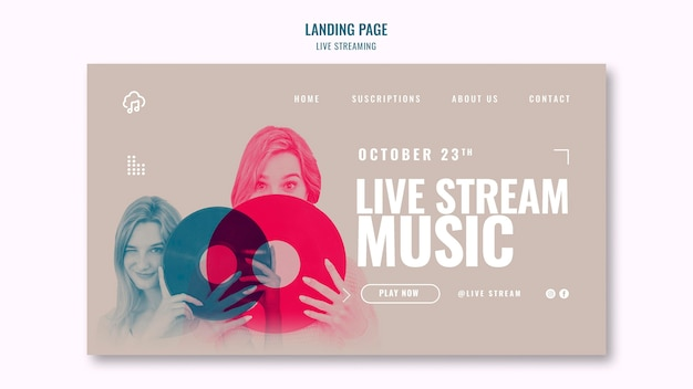 Live streaming landing page template design