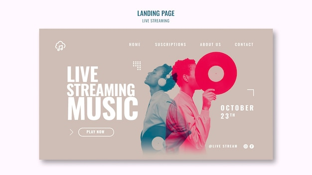 Live streaming landing page template