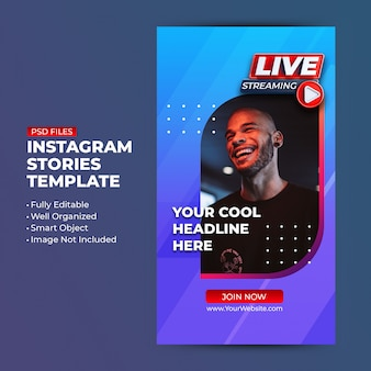 Live streaming template promotion for social media post stories