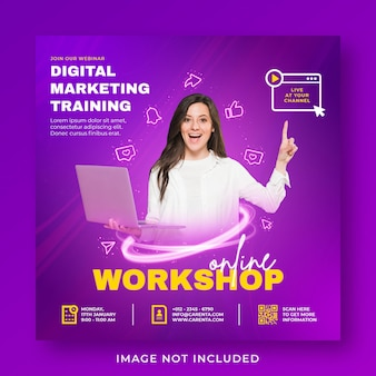 Live streaming webinar promotion social media instagram post banner template