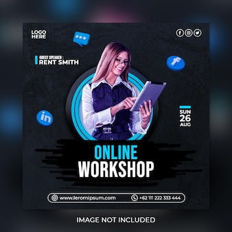 Live streaming workshop marketing agency and corporate social media post template