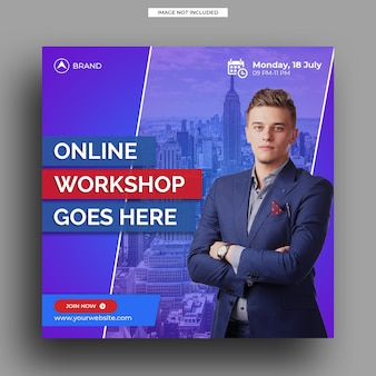 Live streaming workshop social media post template square banner template
