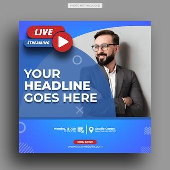 Live streaming workshop social media post template