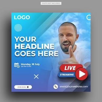 Live streaming workshop for social media post template