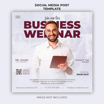 라이브 웨비나 및 기업 소셜 미디어 게시물 배너 템플릿