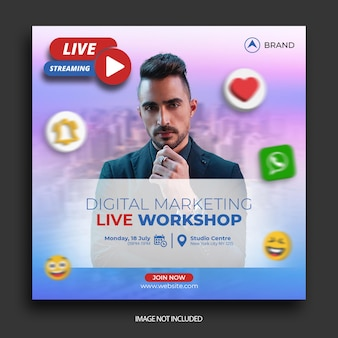 Пост в социальных сетях live workshop, шаблон поста в instagram