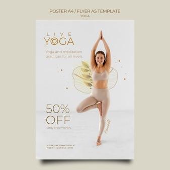 Modello di volantino yoga dal vivo