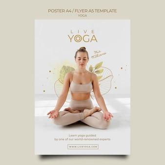 Modello di poster di yoga dal vivo