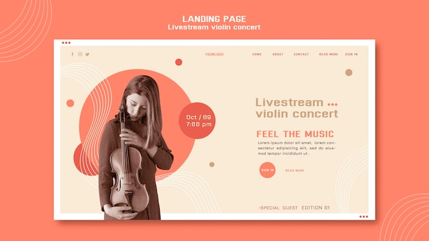 Home page del concerto di violino in live streaming