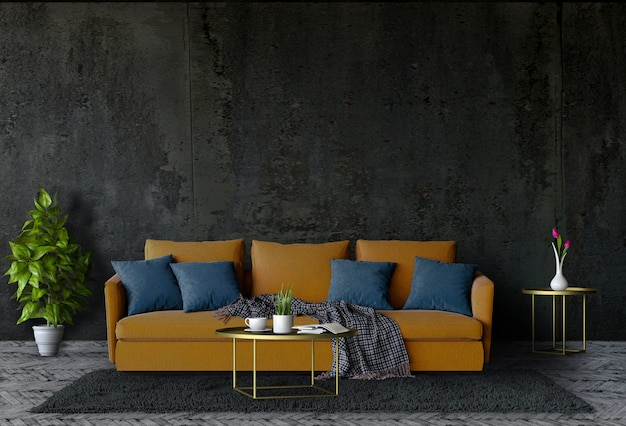 Living room concrete wall with black sofa in darkness