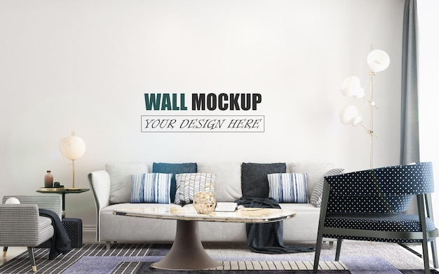 Living room decorated with many colors wall mockup
