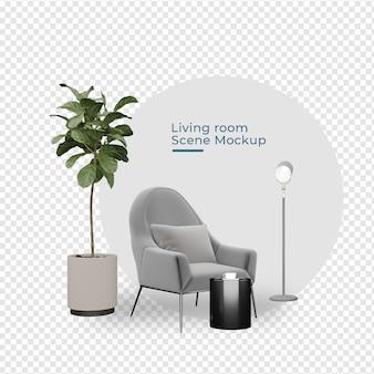 Украшение гостиной с диваном в горшке и лампой в рендеринге