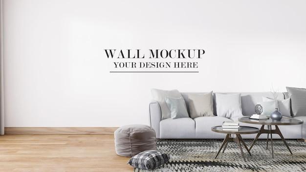 Гостиная пустой макет стены