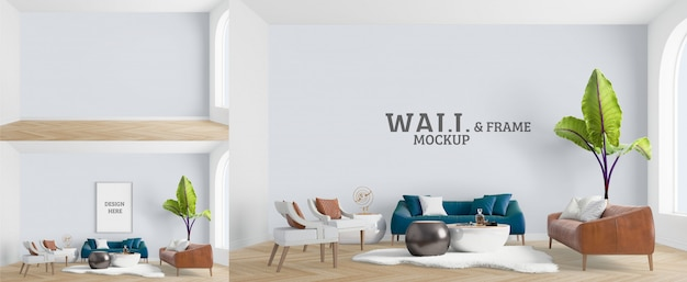 Living room has a blue sofa. wall and frame mockup