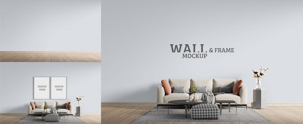 Living room has modern furniture. wall and frame mockup