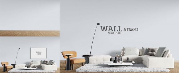 Living room has a modern style. wall and frame mockup