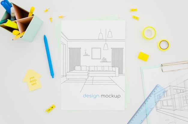 リビングルームの屋内デザインのモックアップ