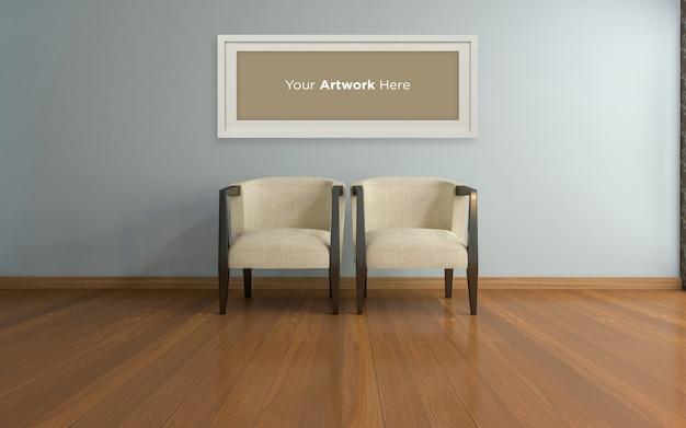 Интерьер гостиной стулья и пустая рамка для фотографий mockup design