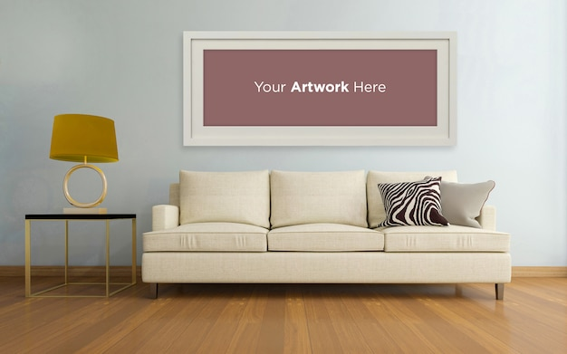 Living room interior couch empty photo frame mockup design