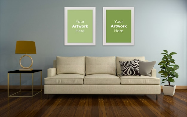 Living room interior couch two empty photo frame mockup design