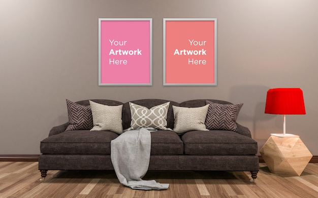 Living room interior couch with lamp and empty photo frame mockup design
