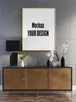 リビングルームインテリア家の床テンプレート背景フレームモックアップデザインコピースペース3dレンダリング