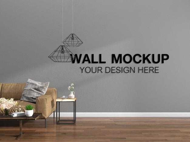 Гостиная интерьер дома макет пол мебель фон, минималистский дизайн копирование пространства шаблон psd Premium Psd