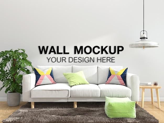 Living room interior house  mockup floor furniture background, minimalist design copy space template psd