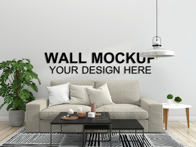 リビングルームインテリア家モックアップ床家具背景、シンプルなデザインコピースペーステンプレートpsd