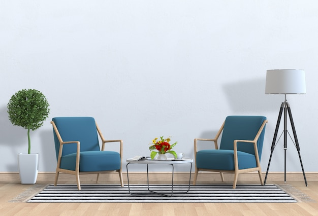 Интерьер гостиной в современном стиле с креслом и украшениями.
