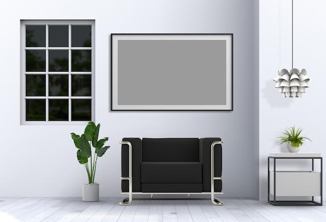 Интерьер гостиной в современном стиле с диваном и рендерингом украшений