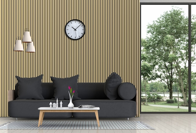 Living room interior in modern style, 3d render with sofa and decorations.