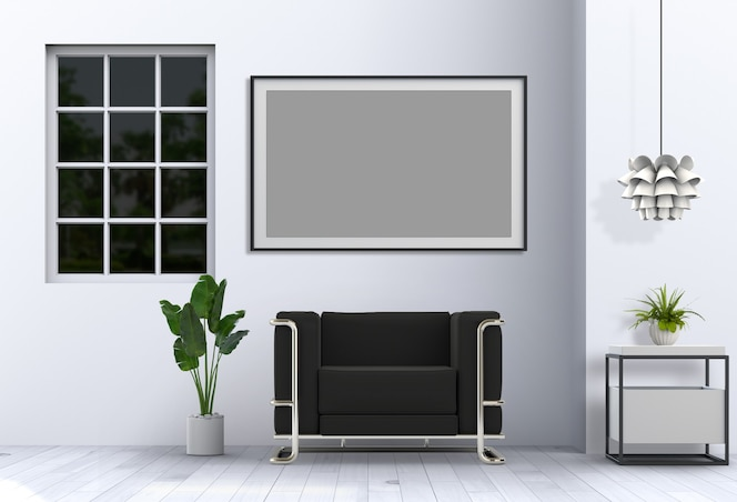 Living room interior in modern style with sofa and decorations rendering