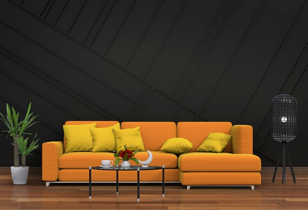 Living room interior in modern style with sofa and decorations.