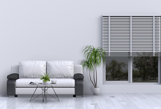 Living room interior in modern style with sofa and decorations