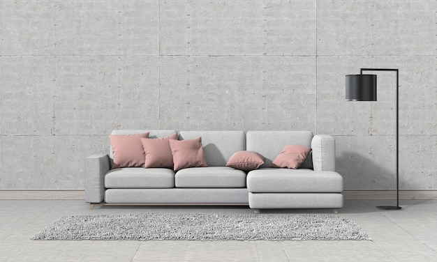 Living room interior in modern style with sofa