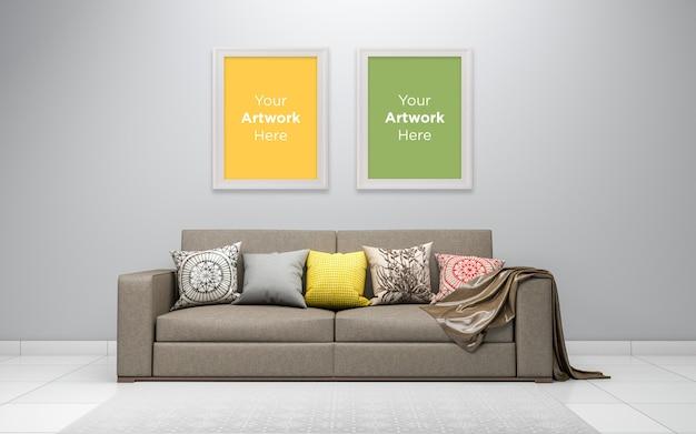 Living room interior sofa with empty photo frame mockup design