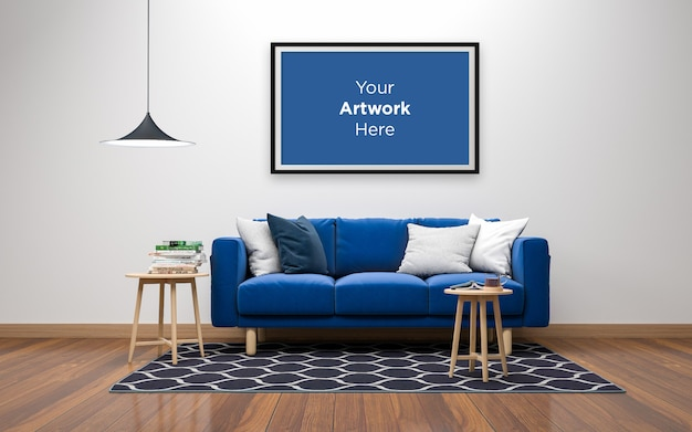 Living room interior sofa with tables and empty photo frame mockup design