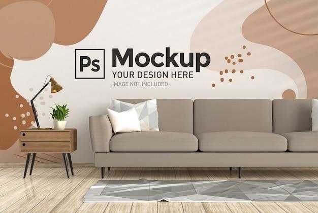 Макет внутренней стены гостиной с диваном и ковриком, реалистичный 3d-рендеринг