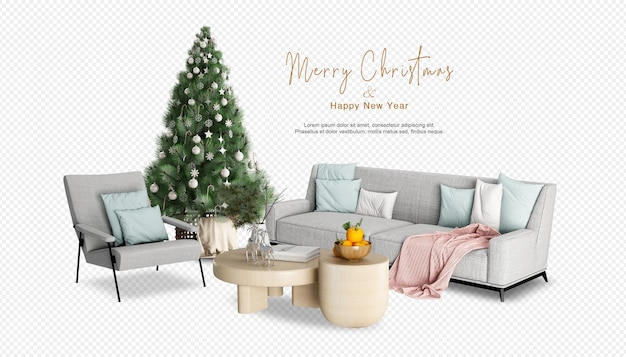 3dレンダリングでクリスマスツリーとリビングルームのインテリア